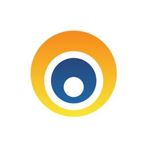 黄色蓝色圆形矢量logo图标设计
