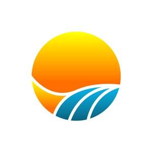 阳光水流矢量logo图标设计