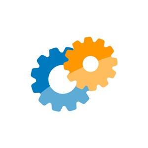 黄色蓝色齿轮矢量logo图标设计