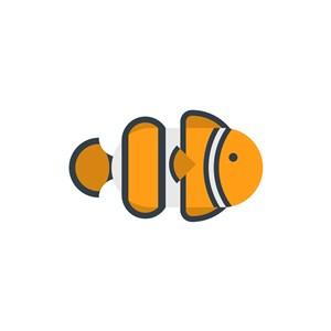黄色卡通小丑鱼矢量logo素材