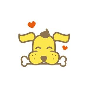卡通啃骨头的狗矢量logo元素设计