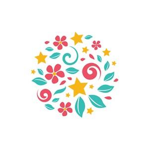 服饰行业logo设计-彩色花朵矢量logo图标素材下载