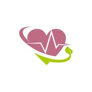 医疗行业logo设计-彩色爱心电波矢量logo图标素材下载