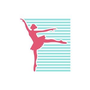 舞蹈艺术中心logo设计-彩色芭蕾舞女孩矢量logo图标素材下载