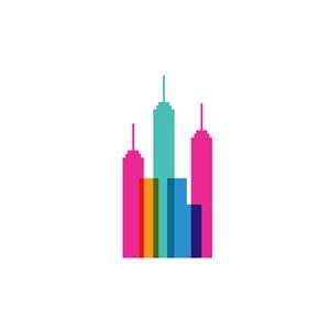 彩色城市高楼矢量logo图标素材下载