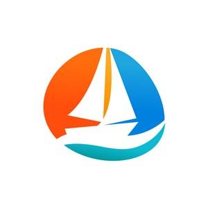 航海旅游logo设计-彩色帆船logo图标素材下载