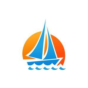 彩色帆船波浪矢量logo图标素材下载