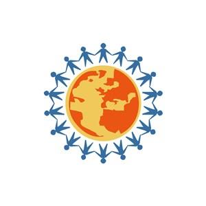保护地球公益logo设计-彩色地球人物矢量logo图标素材下载