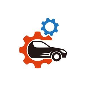 汽车行业logo设计-彩色车齿轮矢量logo图标素材下载