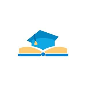 教育培训机构logo设计-博士帽书本矢量图logo图标素材下载