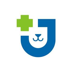 寵物醫院logo設計--狗狗十字盾牌logo圖標素材下載