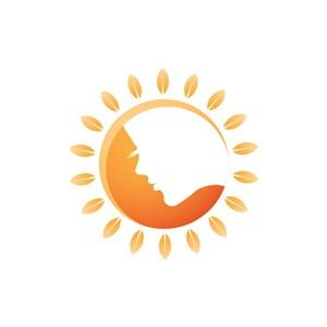 美容公司logo设计--太阳女性logo图标素材下载