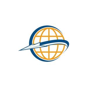 商务贸易logo设计--地球纸飞机logo图标素材下载