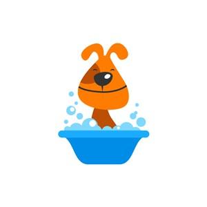 兒童玩具logo設計--洗澡的狗狗logo圖標素材下載