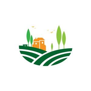 彩色田园风光矢量logo图标素材下载