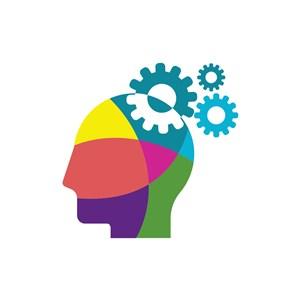 彩色人物齿轮矢量logo图标素材下载