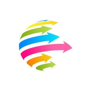 彩色球体箭头矢量logo图标素材下载