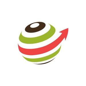 彩色球体箭头logo图标素材下载