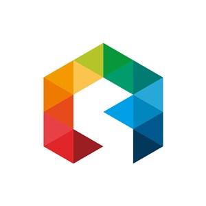 彩色立体三角形组合logo图标素材下载