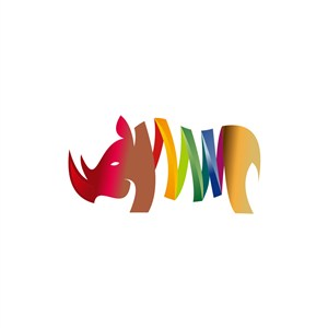 创意行业logo设计-彩色卡通犀牛logo图标素材下载
