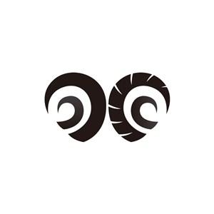 公羊羊角创意矢量LOGO图标