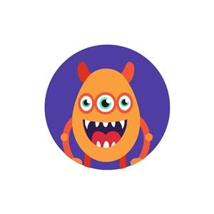 三眼怪动画怪物圆形矢量图标志素材