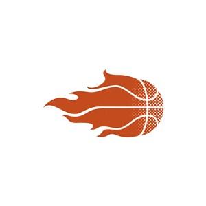 运动休闲logo设计--火焰篮球logo图标素材下载