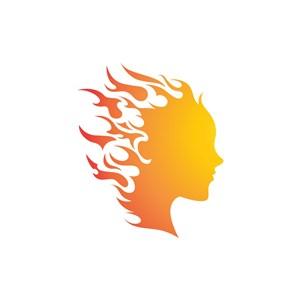 设计公司logo设计--火形人脸logo图标素材下载