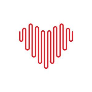 红色线条爱心logo设计素材