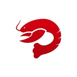 红色龙虾矢量logo设计素材