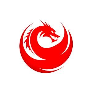 红色恶龙矢量logo素材设计