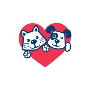 紅色心形貓狗動物寵物店矢量logo設計素材