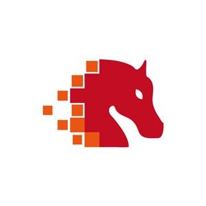 红色独角兽矢量logo图标素材