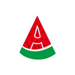 字母A西瓜图案矢量logo设计
