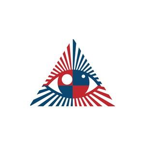 红色蓝色三角形眼睛矢量logo设计