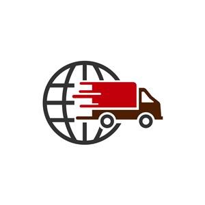 红色货车环球贸易矢量logo设计素材