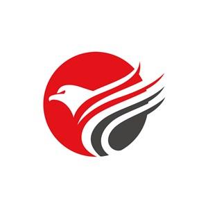 红色灰色老鹰矢量logo图标设计