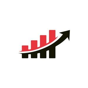 红色黑色涨幅箭头商务贸易矢量logo设计