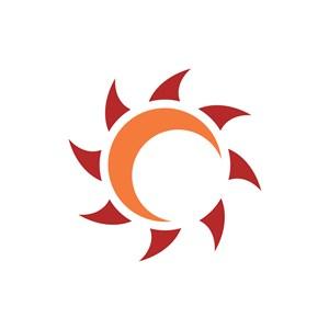 橙色太阳月亮齿轮矢量logo元素
