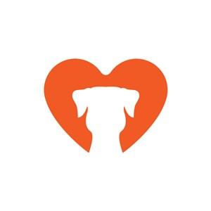 爱心宠物狗头logo素材设计