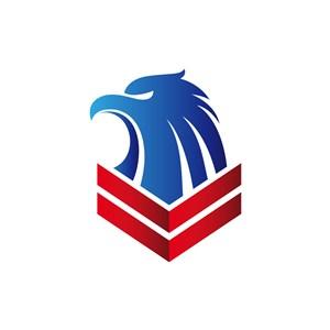 红蓝犀利鹰头矢量logo设计素材