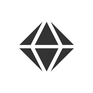黑色钻石圆形矢量logo图标
