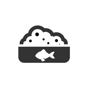 黑色鱼饭盒矢量logo