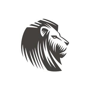 黑色狮子侧脸矢量logo