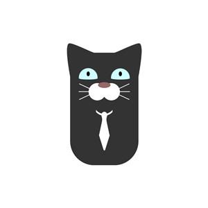 可爱黑猫矢量logo元素
