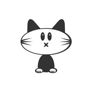 黑色小猫矢量logo图标