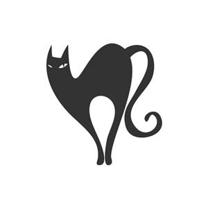 黑色猫矢量logo图标