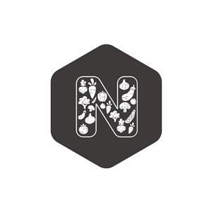 六边形字母N矢量logo素材