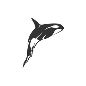 跃出水面的鲸鱼矢量logo元素