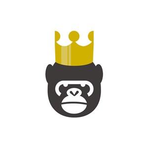 戴皇冠猩猩娱乐教育影视矢量logo图标